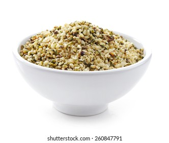 bowl of healthy hemp seeds isolated on white