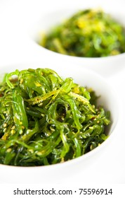 Bowl of  Healthy Seaweed Salad Isolated on White