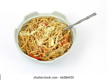 A bowl of  home cooked whole grain wheat pasta.