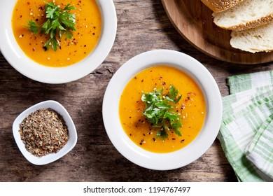 Bowl of homemade organic butternut squash soup