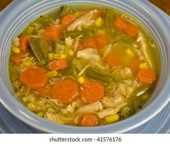 A Bowl of Homemade Turkey or Chicken Soup