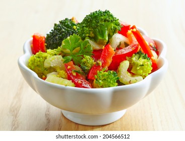 bowl of homemade vegetable salad with couscous