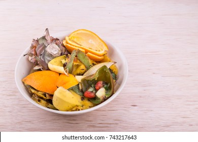 Bowl of household vegetable and fruits refuse and garbage collected for compost preparation