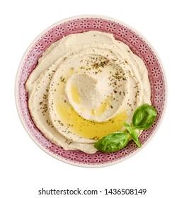 Schüssel Hummus einzeln auf weißem Hintergrund, Draufsicht