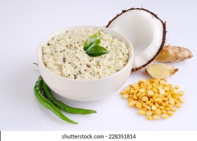 bowl of indian chutney, coconut chutney,Coconut chutney in a bowl.