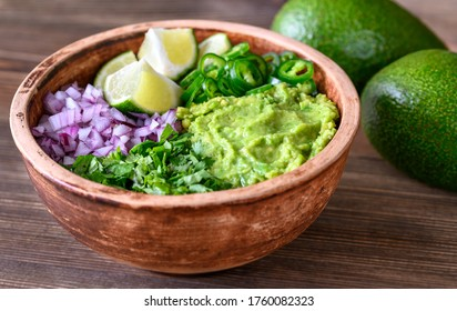 Bowl of ingredients for guacamole close-up