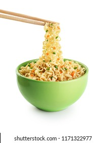 Bowl of instant noodles isolated on white background. With clipping path.