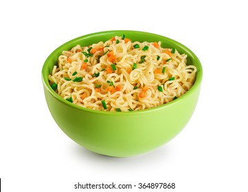 Bowl of instant noodles isolated on white background.