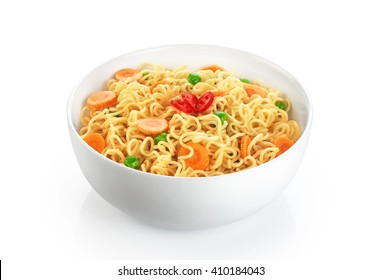Bowl of instant noodles with peas, carrots and chili, isolated on white background.