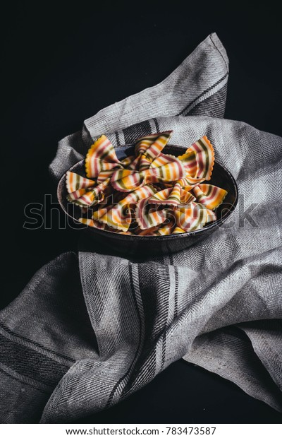 Bowl of Italian pasta on tea towel