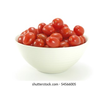 bowl of italian ripe cherry tomatoes on white background