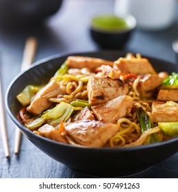 bowl of japanese chicken yakisoba