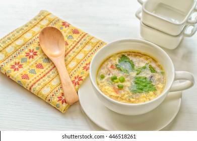 a bowl of Japanese egg drop soup