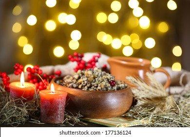 Bowl with kutia -  traditional Christmas sweet meal in Ukraine, Belarus and Poland, on wooden table, on bright background