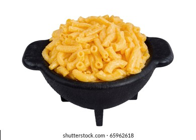 bowl of macaroni and cheese dinner isolated over white