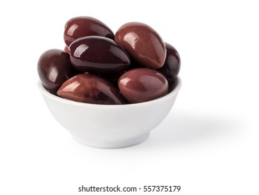 Bowl of marinated kalamata olives , isolated on white. with clipping path