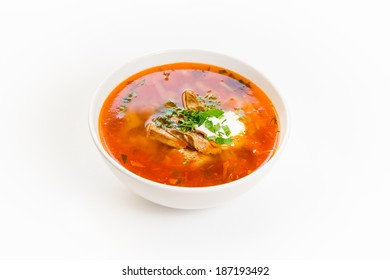 Bowl of meat soup on a white background