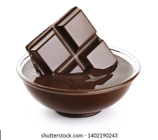 Bowl with melted chocolate and chocolate bar isolated on white background. With clipping path.