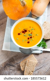 bowl of mixed pumpkin soup