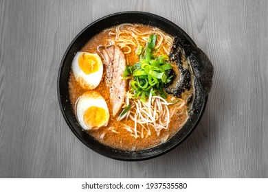 Bowl of mouth watering japanese ramen for single serving.