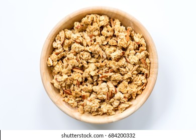 Bowl of Muesli and granola Isolated on White Top View.