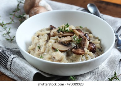 Bowl of Mushroom Risotto garnished with Thyme leaves, selective focus