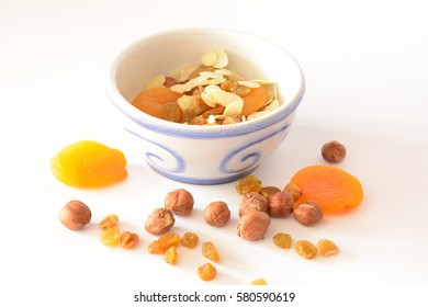 Bowl of nuts and dried fruits. Healthy energy, healthy calories.