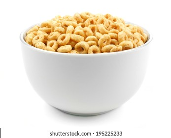 Bowl of oat cereal on a white background