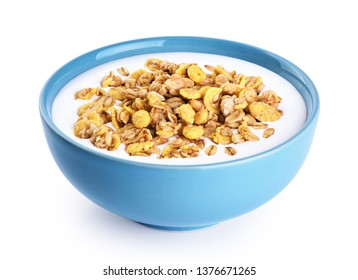 Bowl with oat granola, milk, yogurt isolated on white background. With clipping path.