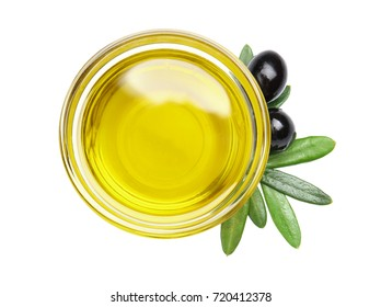Bowl with olive oil isolated on white