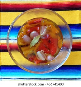 Bowl of pickled bell peppers and shallots
