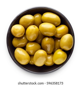 Bowl of pickled olives isolated on white background, top view