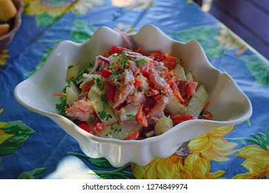 """A bowl of """"poisson cru"""", the local specialty dish in French Polynesia made with raw tuna fish marinated in coconut milk and lime juice"""