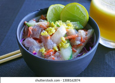 """A bowl of """"poisson cru"""", the local specialty dish in French Polynesia made with raw tuna fish marinated in coconut milk"""