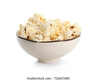Bowl with popcorn on white background