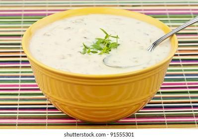 a bowl of potato soup