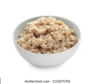 Bowl with prepared oatmeal on white background