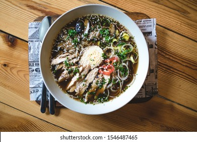 A bowl of Ramen from the top-view