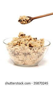 A bowl of raw chocolate chip cookie dough