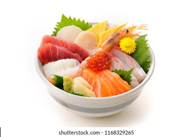 Bowl of rice topped with sashimi. Japanese food.