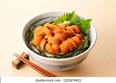 Bowl of rice topped with sea urchin
