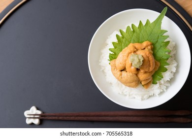 Bowl of rice topped with sea urchin. Japanese foods.