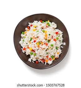 Bowl of rice with vegetables isolated on white background, top view.
