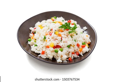 Bowl of rice with vegetables isolated on white background.