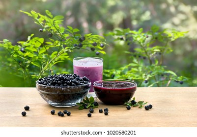 Bowl with ripe berries wild bilberries, bowl with jam of bilberries and of fruit yogurt on wooden table on background of shrubs with ripe fruit wild bilberries in forest