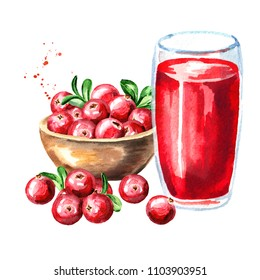 Bowl with ripe red cranberry and glass of cranberry juice. Watercolor hand drawn illustration, isolated on white background