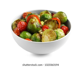 Bowl of salad with Brussels sprouts isolated on white
