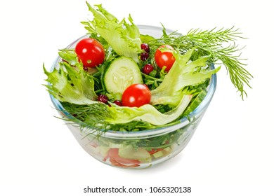 Bowl of salad with fresh vegetables, isolated on white background