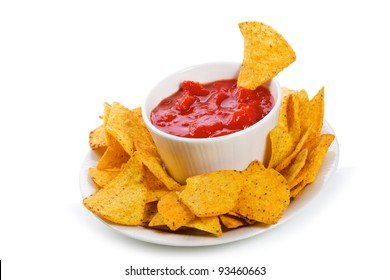 Bowl of salsa with tortilla chips on white background