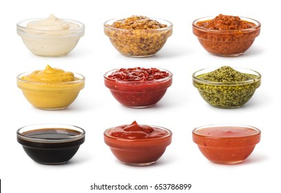 Bowl with sauce set isolated on white background